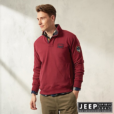 JEEP 俐落簡約立領休閒長袖TEE-紅木色