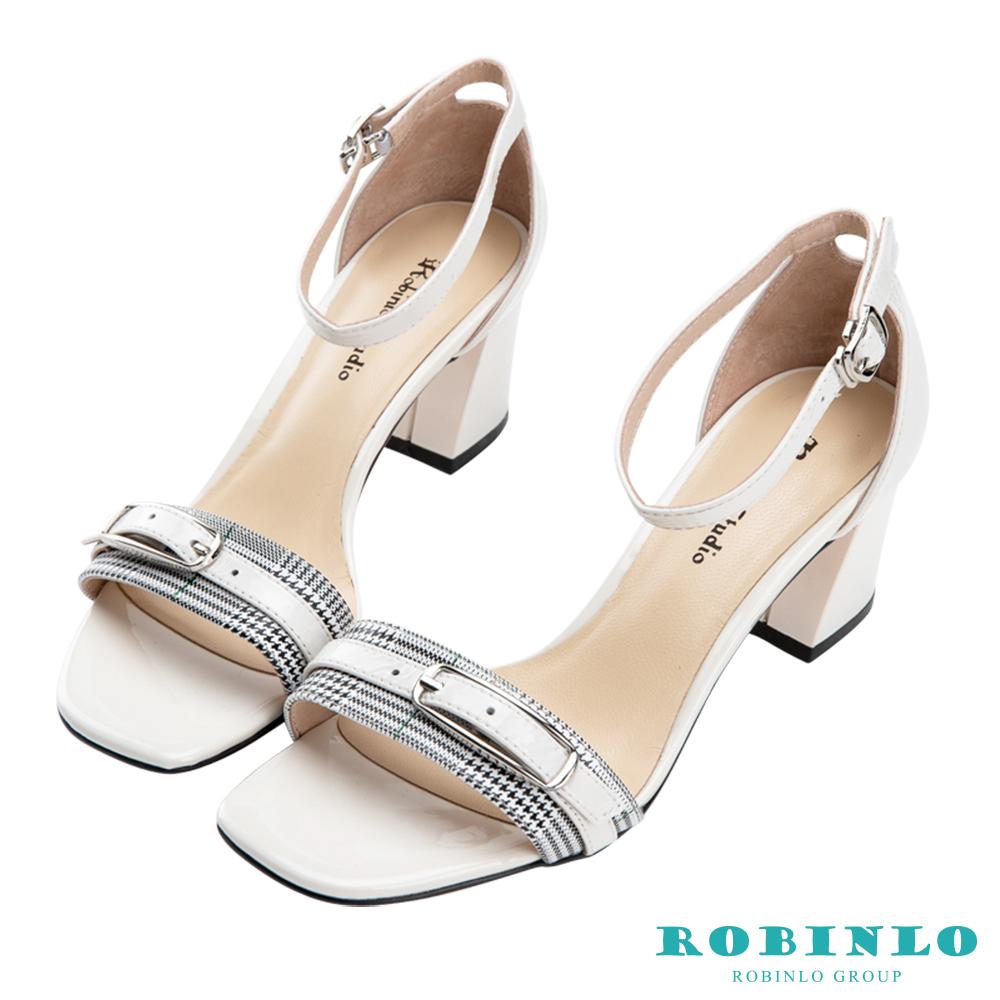 Robinlo 典雅一字格紋方頭繫帶涼拖跟鞋 白色