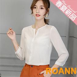 小清新純色七分袖雪紡襯衫 (共二色)-ROANN