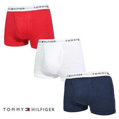 Tommy Hilfiger Cotton Stretch 男內褲 短版棉質高彈性合身平口褲/Tommy四角褲-白、紅、海軍藍 三入組
