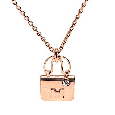 HERMES Constance系列經典H LOGO單鑽鑲嵌玫瑰金手提包造型墜飾項鍊