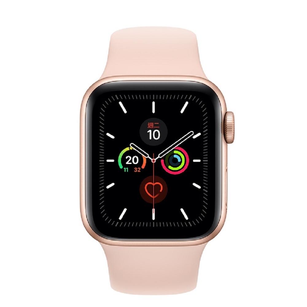 [無卡分期-12期]Apple Watch Series 5(GPS)44mm金色鋁錶殼粉色運動錶帶