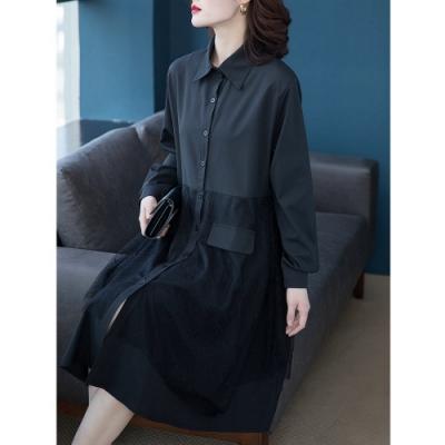 寬鬆拼接襯衫領排釦黑連身裙L-5XL-KVOLL