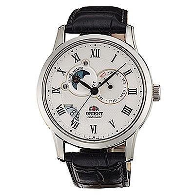 ORIENT 日月相羅馬鏤空藍寶石手動機械錶(SET0T002S0)-白面x42mm