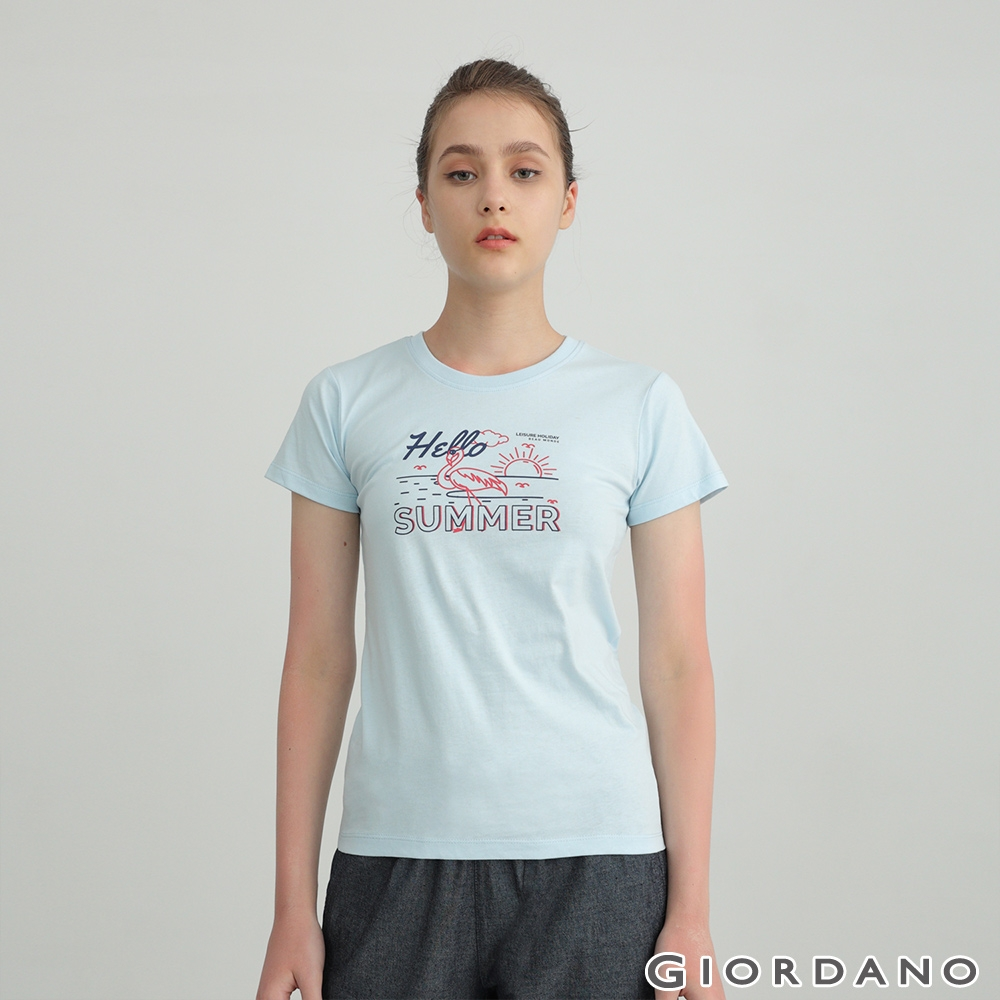 GIORDANO 女裝夏日紅鶴印花T恤 - 01 粉藍