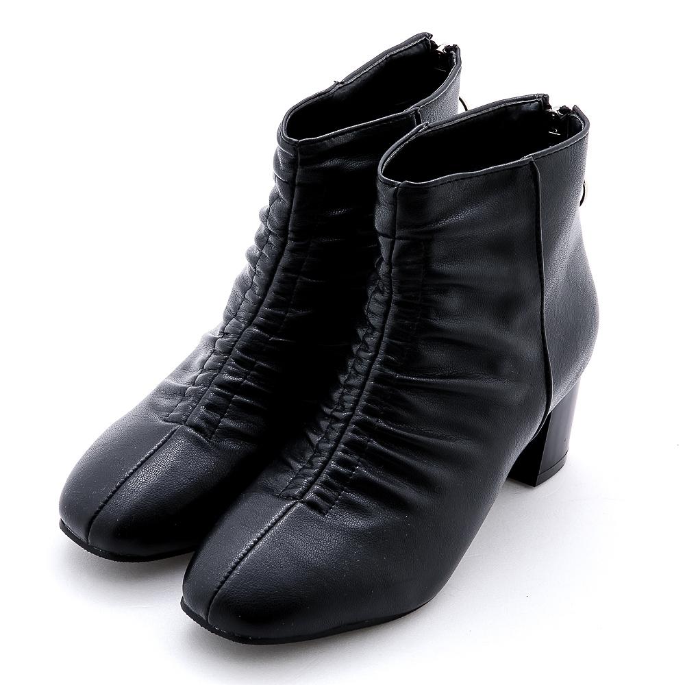 River&Moon韓系抓皺方頭後拉鍊中跟靴  黑