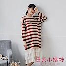 日系小媽咪孕婦裝-哺乳衣~橫條紋拼接層次雪紡針織洋裝 M-L (共二色)