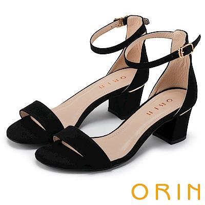 ORIN 一字繫踝繞帶後包粗跟涼鞋 黑色
