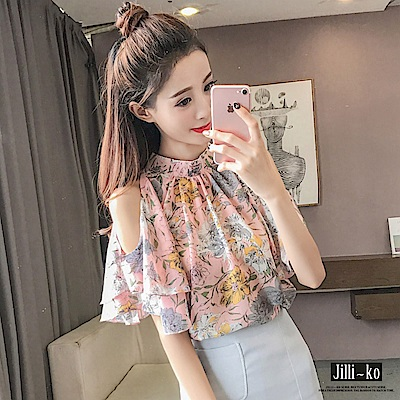 Jilli-ko 韓版露肩印花雪紡衫- 粉紅