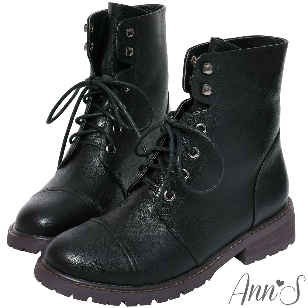 Ann'S無畏經典-帥氣6孔綁帶小羊皮短靴
