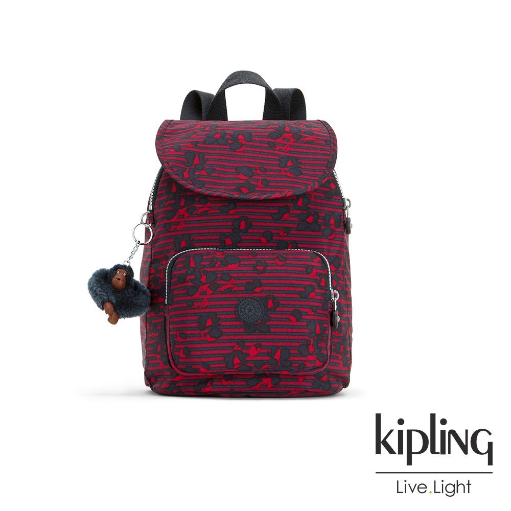 Kipling 高雅紅花條紋掀蓋後背包-CAMPANA