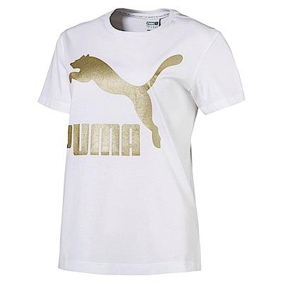 PUMA-女性流行系列No.1 Logo短袖T恤-白色-亞規