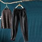 水洗磨白加絨牛仔褲寬鬆哈倫長褲-設計所在