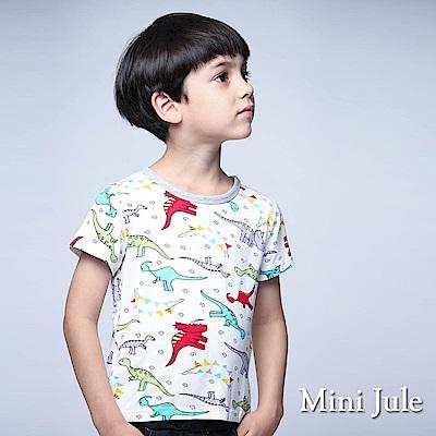 Mini Jule 童裝 上衣 繽紛彩帶恐龍短袖棉T(白)