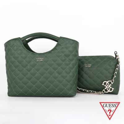 GUESS-女包-菱格壓紋手提肩背子母包-綠