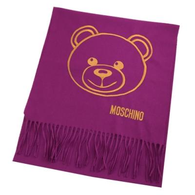 MOSCHINO電繡大臉熊熊羊毛長圍巾(紫)