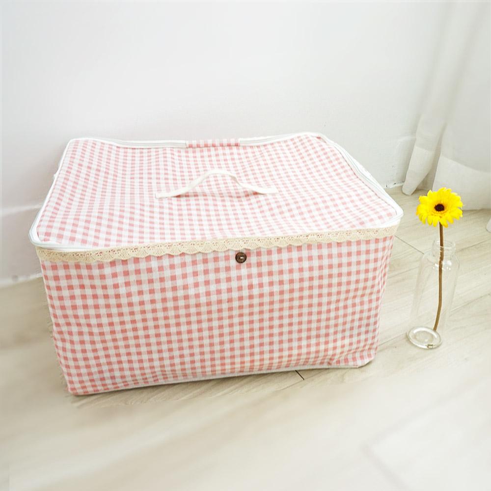 【收納職人】衣物棉被大容量防水防塵袋收納袋收納箱50L(粉格)