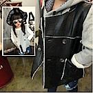 小衣衫童裝   中性潮款PU仿皮加絨時尚背心1041112