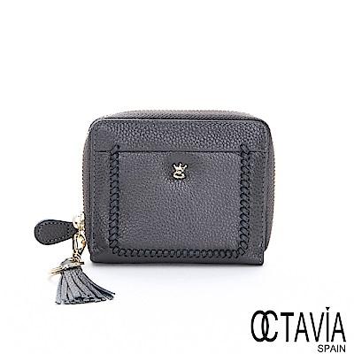 OCTAVIA8真皮 - 皇冠小釘 編織滾邊流蘇牛皮短夾 - 秘密灰