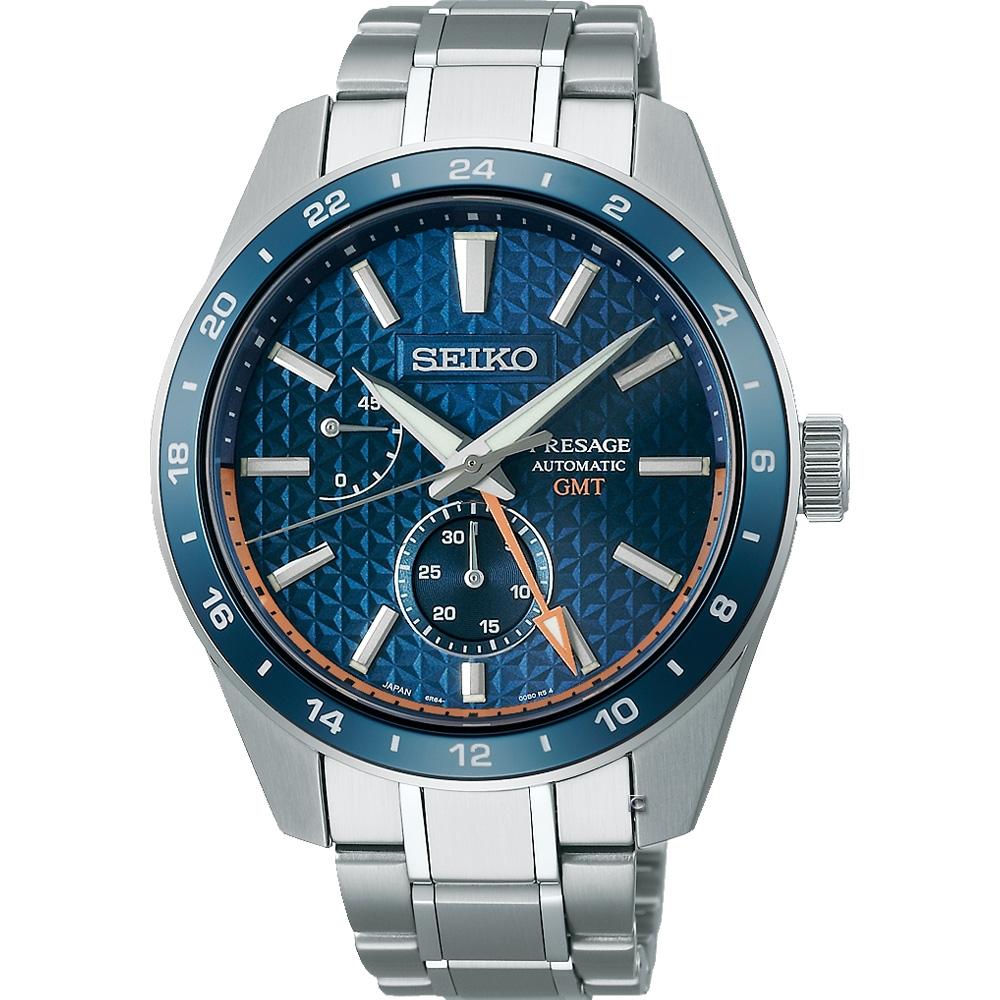 SEIKO精工 Presage 新銳系列 Aitetsu靛藍 GMT機械腕錶 SPB217J1(6R64-00C0B)-藍/42.2mm