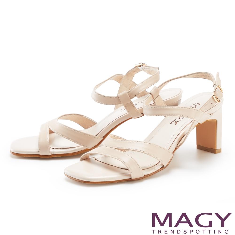 MAGY 細版真皮踝繞帶高跟 女 涼鞋 裸色