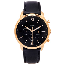 FOSSIL 文青款計時的皮帶手錶(FS5381)-黑色面X黑色/44mm