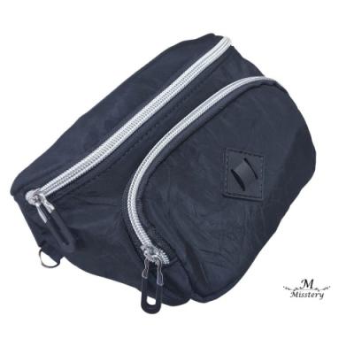 【Misstery】實用雙開口設計熱壓面料防水休閒腰包-黑