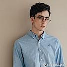 GIORDANO 男裝經典刺繡彈力牛津紡長袖襯衫-65 灰藍