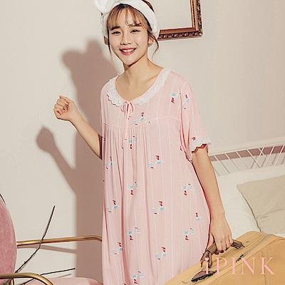i PINK 清新甜夢 冰絲棉涼感連身裙居家服睡衣(粉送子鳥)