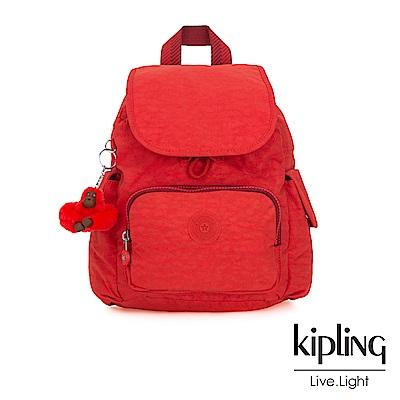 Kipling 珊瑚紅素面拉鍊掀蓋後背包-CITY PACK MINI