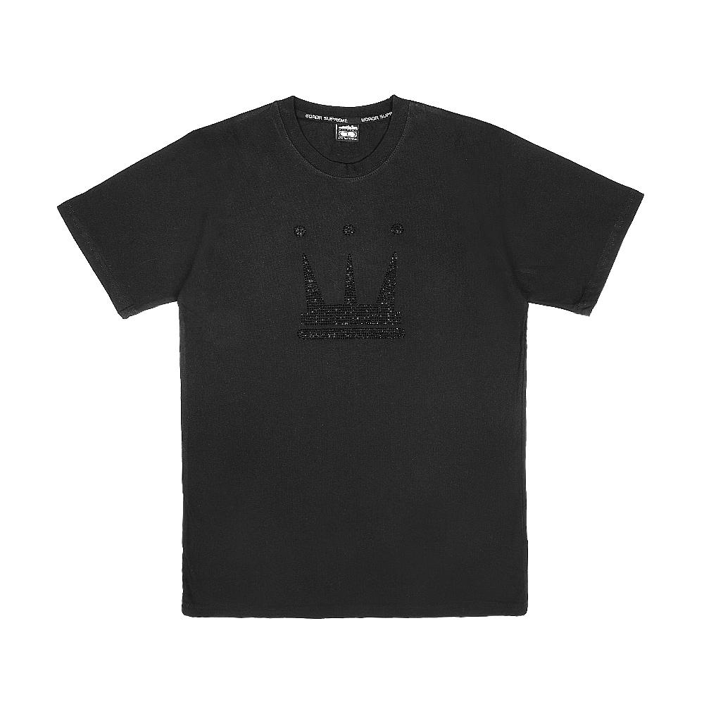 【DADA SUPREME】DIAMOND SHINE 中性水鑽短袖上衣-黑