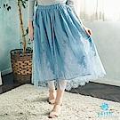 earth music 花朵刺繡蕾絲長裙