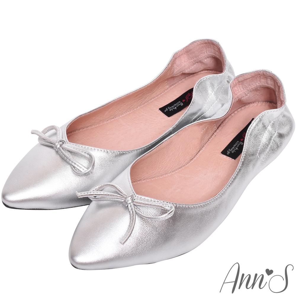Ann'S氣質V剪裁芭蕾蝴蝶結真皮尖頭平底鞋-銀