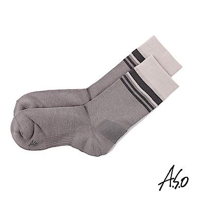 A.S.O 新科技竹炭條紋三分襪-灰