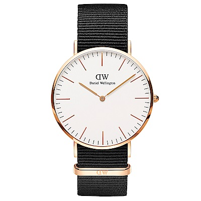 DW Daniel Wellington 時尚康沃爾黑NATO錶帶石英腕錶-金框/40mm