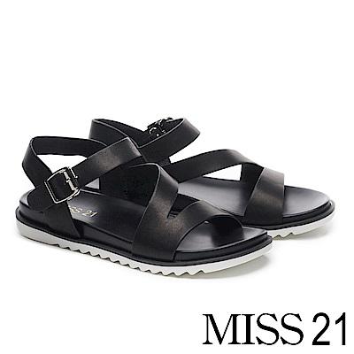 涼鞋 MISS 21 個性休閒俐落剪裁寬繫帶牛皮厚底涼鞋-黑