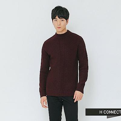 H:CONNECT 韓國品牌 男裝-簡約坑條針織上衣-紅
