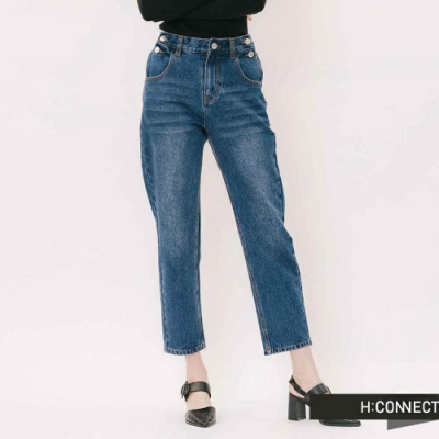 H:CONNECT 韓國品牌 女裝 - 側排扣後腰鬆緊牛仔褲 - 藍