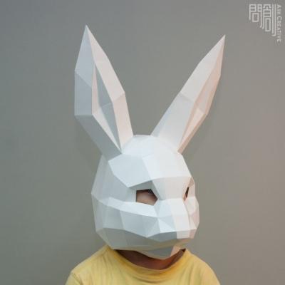 問創設計 DIY手作3D紙模型 頭套 面具系列 - 兔子面具 (幼幼款)
