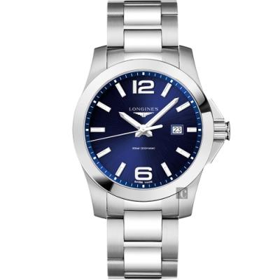 LONGINES浪琴 Conquest 300米石英腕錶-藍x銀/43mm