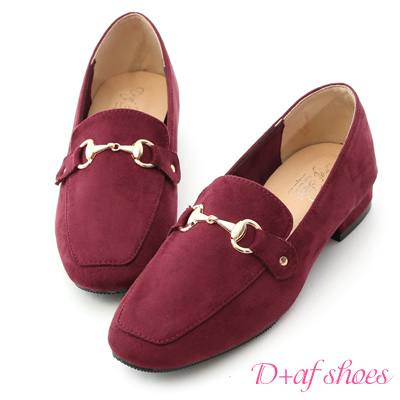 D+AF 時尚典範.質感馬銜釦絨質樂福鞋*酒紅