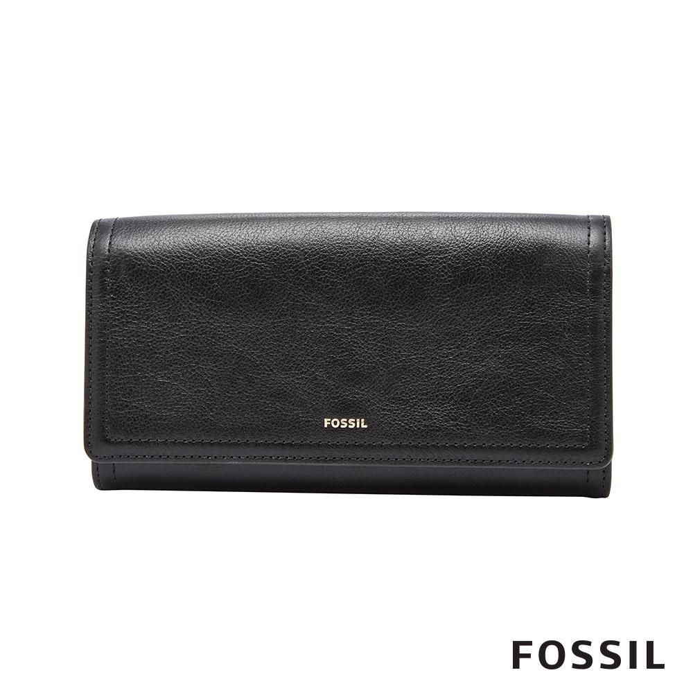 FOSSIL LOGAN 黑色三折真皮拉鍊RFID長夾