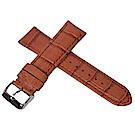 進口高級義大利牛皮鱷魚壓紋通用型錶帶-淺棕色