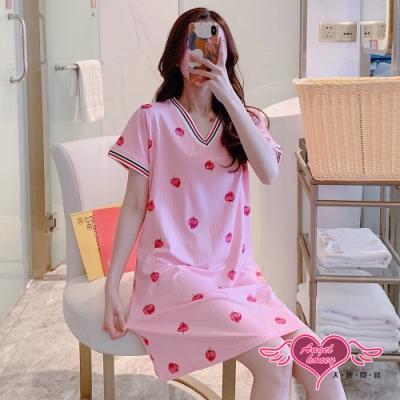 居家睡衣 甜美草莓 莫代爾一件式短袖連身睡裙(粉F) AngelHoney天使霓裳