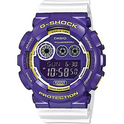 CASIO 卡西歐 G-SHOCK 玩酷撞色手錶-紫x白(GD-120CS-6)