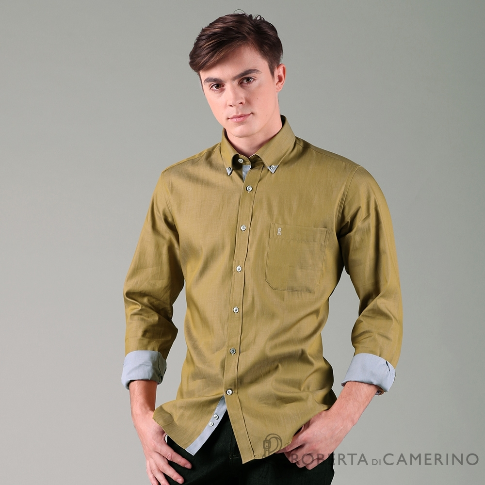 ROBERTA諾貝達 進口素材 台灣製 合身版 獨特魅力 純棉仿牛仔長袖襯衫 土黃