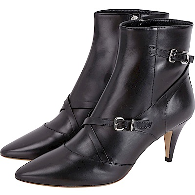 TOD'S Multi Buckle 小牛皮釦帶尖頭踝靴(黑色)