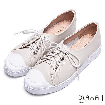 DIANA-漫步雲端焦糖美人款-珍珠綴飾綁帶休閒鞋-米