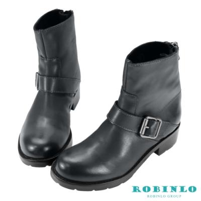 Robinlo 進口擦色牛皮後拉鏈短靴 灰色