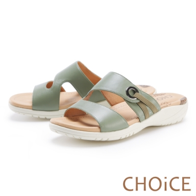 CHOiCE 二字造型真皮厚底 女 拖鞋 淺綠